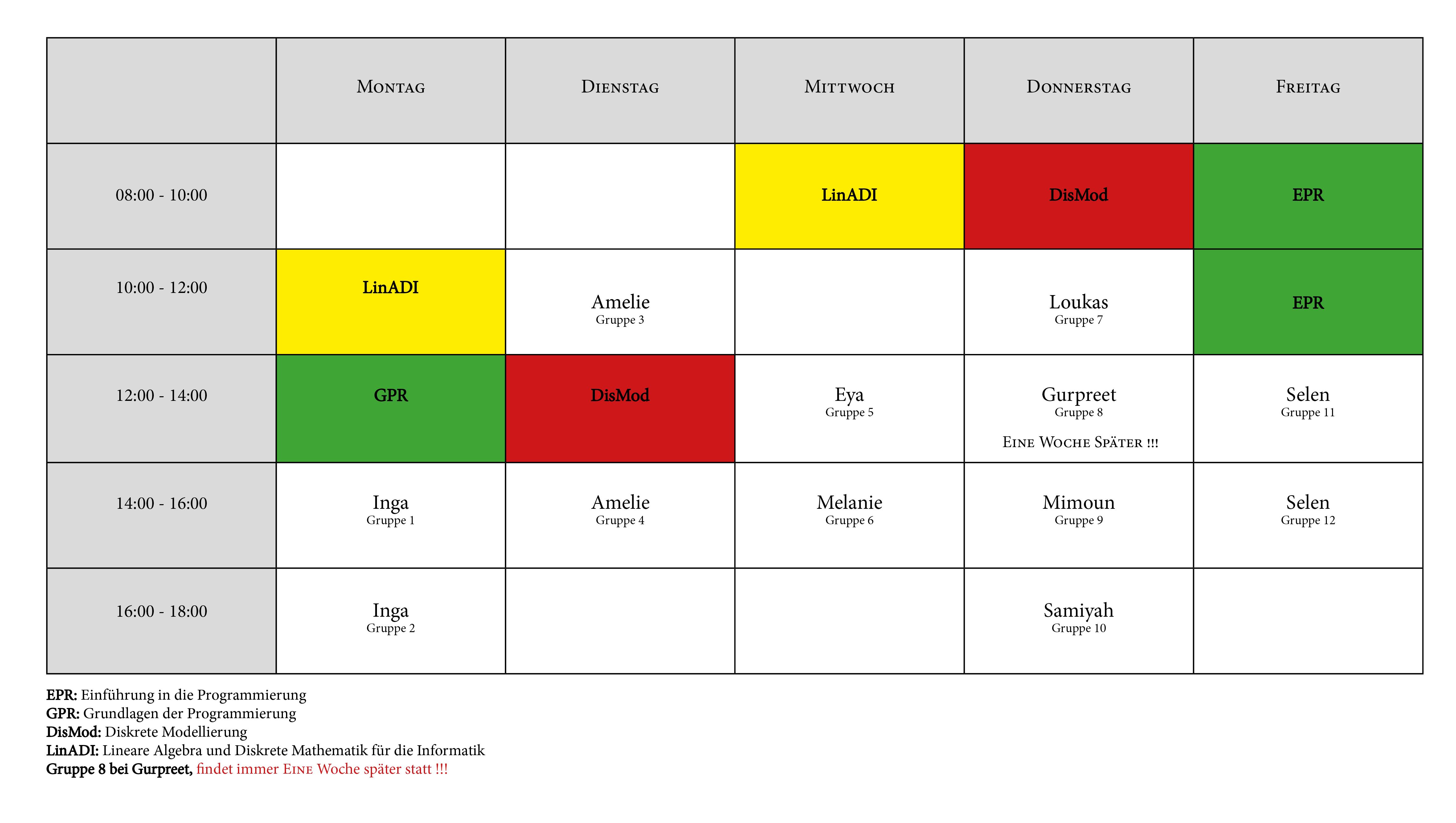 Stundenplan WS 2020/21